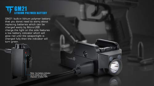 Acid Tactical Weapon Light 7 Pistol Flashlight Compact Handgun Tactical Flashlight 510 Lumens Rechargeable