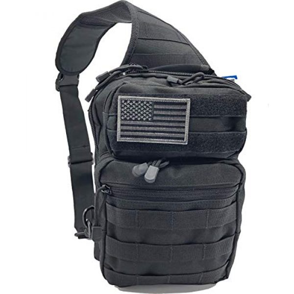 BH AMAZING, LLC Tactical Backpack 1 BH Tactical Sling Backpack   Military Army Rover Shoulder Bag Pack   Molle Assault Range Bag   Everyday Small Conceal Carry w/ USA Flag   Gear for Outdoor Sports, Hiking, Camping, Trekking   EMS CCW