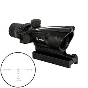 WINFREE Rifle Scope 1 WINFREE 4x32 Rifle Scopes Red Illuminated Horseshoe Reticle Real Fiber Optics Sight