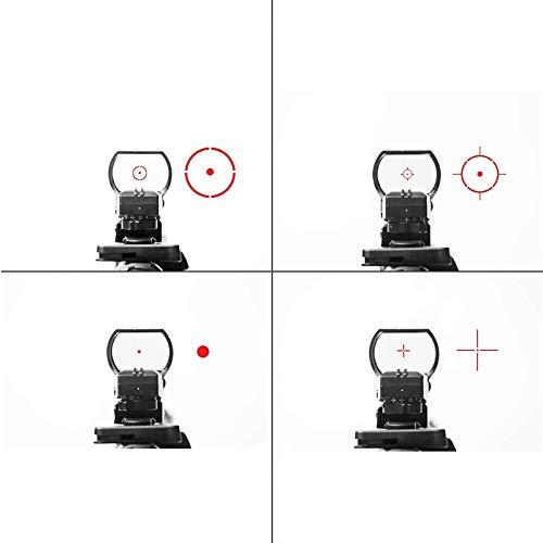 SUIYEU Rifle Scope 4 Reflex Sight   45 Degree Offset Mount Included   Reflex Rifle Optic with 4 Reticle Patterns   Adjustable Color Settings   Red Dot Green Dot Gun Scope
