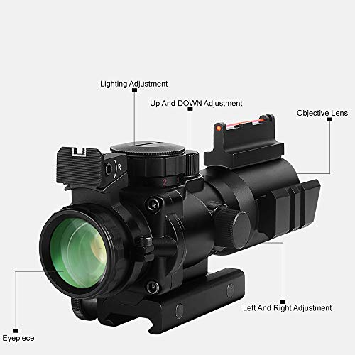 BESTSCOPE Rifle Scope 2 BESTSCOPE Rifle Scope 4x32 Red/Green/Blue Illuminated Quickly Range Reticle Scope with Top Fiber Optic Sight and Weaver Slots