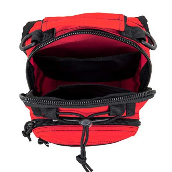 LINE2design Tactical Backpack 3 LINE2design First Aid Sling Backpack - EMS Equipment Emergency Medical Supplies Tactical Range Shoulder Molle Bag - Heavy Duty Sports Outdoor Rescue Pack - Perfect for Camping Hiking Trekking - Red