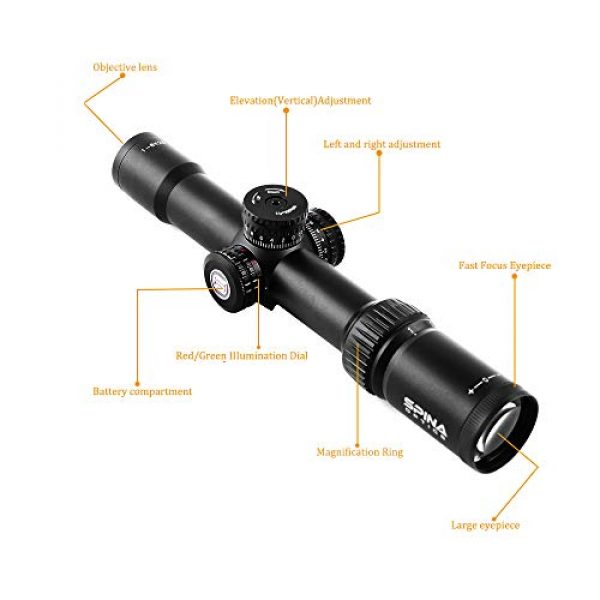 SPINA OPTICS Rifle Scope 5 1-6x28 SFP Tactical Rifle Scope Optics Sight Mil-dot Reticle Wide Angle Wide Vision Scope for Hunting