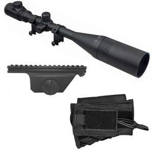 M1Surplus Rifle Scope 1 M1SURPLUS Optics Kit for M1A - Includes Hi-Power 8-32x50 Illuminated Rifle Scope + Sun Shade + Flip-Up Lens Covers + Scope Rings + Black Cheekrest Stock Riser + Scope Mount for M1A M14 Rifles