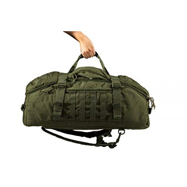 """World Famous Sports Tactical Backpack 2 World Famous Sports 45 Liter Tactical Duffel Bag, OD Green, 21""""x14""""x12"""" (TB-621-OD)"""