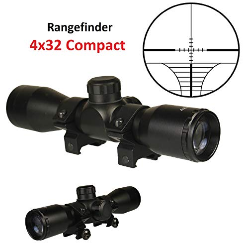 "TWP Rifle Scope 2 TWP 4x32 Compact Hunting Scope, Rangefinder Reticle, 1"" Tube and Mid-Height Weaver Ring Mount"
