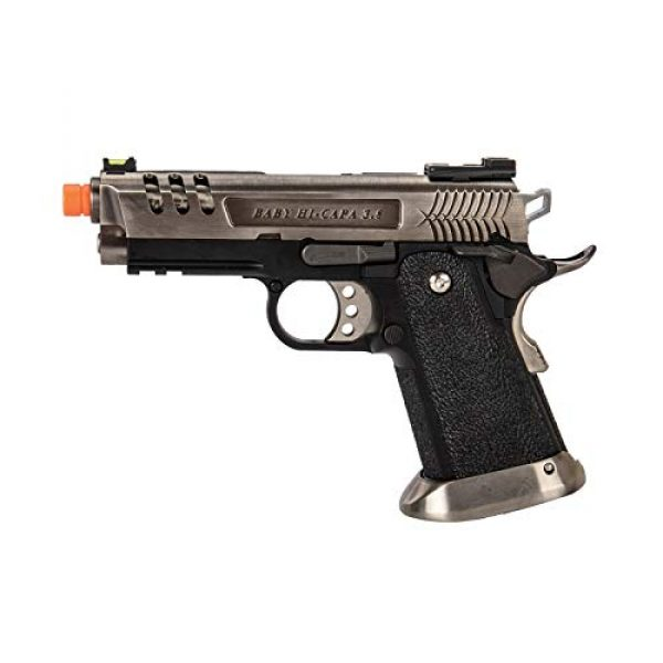 Lancer Tactical Airsoft Pistol 1 Lancer Tactical WE-Tech Hi-Capa 3.8 Deinonychus Full Auto Gas Blowback Airsoft Pistol Silver