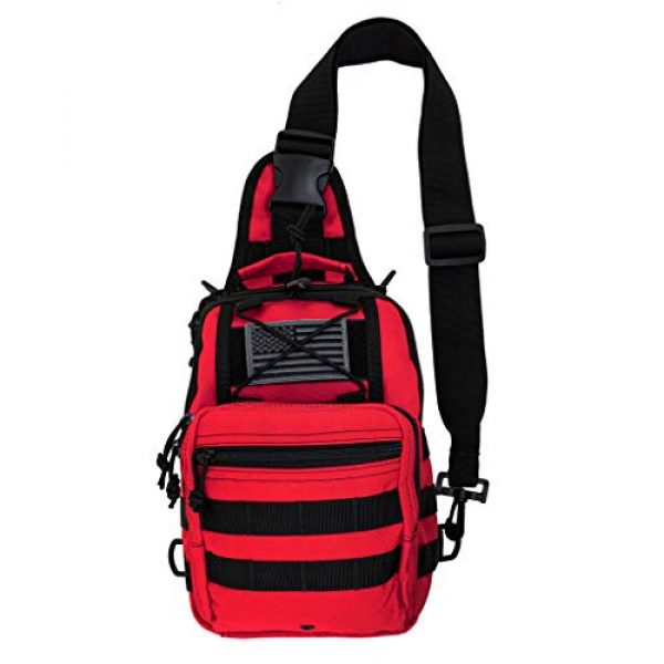 LINE2design Tactical Backpack 1 LINE2design First Aid Sling Backpack - EMS Equipment Emergency Medical Supplies Tactical Range Shoulder Molle Bag - Heavy Duty Sports Outdoor Rescue Pack - Perfect for Camping Hiking Trekking - Red