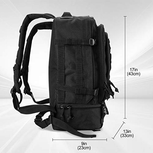 ProCase Tactical Backpack 2 Procase Military Tactical Backpacks 30 Liter, Large Capacity Hiking Daypacks Molle Bag for Camping, Hunting, Trekking, Military Traveling -Black