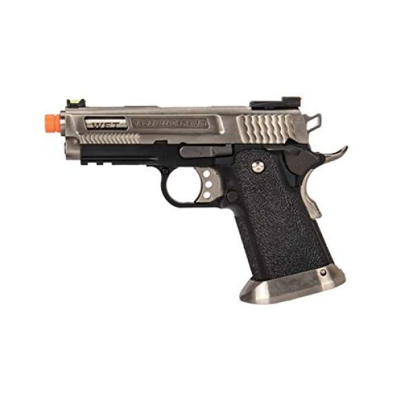 Lancer Tactical Airsoft Pistol 1 Lancer Tactical WE-Tech Hi-Capa 3.8 Brontosaurus Full Auto Gas Blowback Airsoft Pistol Silver