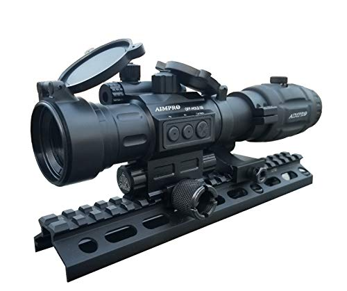 AIMPRO Rifle Scope 1 AIMPRO ALFA Red Dot Sight with Flip to Side Magnifier Combo