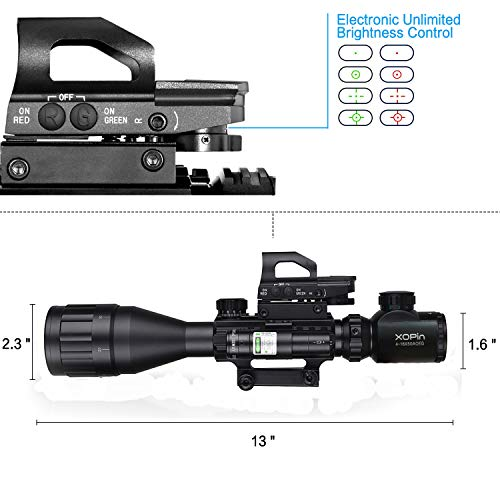 XOPin Rifle Scope 2 XOPin Rifle Scope Combo 4-16x50 Dual Illuminated with Green Laser sight 4 Holographic Reticle Red/Green Dot for Weaver/Rail Mount