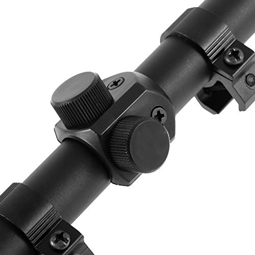 "Ultimate Arms Gear Rifle Scope 2 Ultimate Arms Gear Tactical 4x20 Fine Crosshair Reticle 22 .22 Caliber Rifle And Airgun Paintball , Pellet Gun, Crossbow Or Airsoft Compact Scope + Lens Caps + 3/8"" Dovetail Mounting Rings"