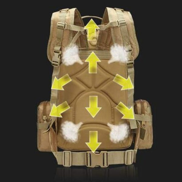 Suoki Tactical Backpack 6 Tactical Backpack 55L with Built-up 3 MOLLE Bags Rucksacks for Travelling