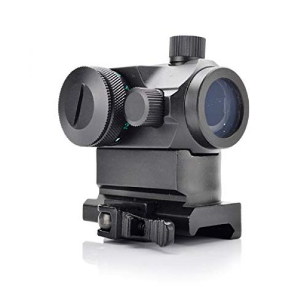 KTAIS Rifle Scope 4 KTAIS Tactical Hunting QD 1X22 Reflex Red&Green Dot Scope Sight with Quick Riser Mount Quick Detach Holographic Collimator Dot Scopes (Color : Black)