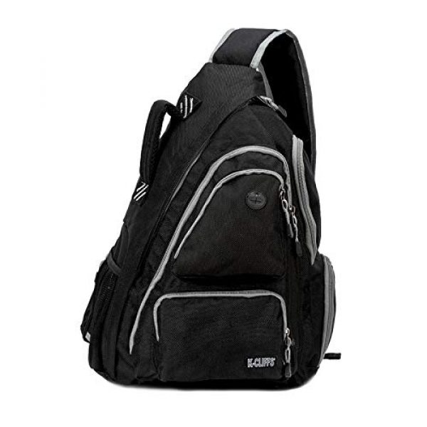 K-Cliffs Tactical Backpack 1 K-Cliffs Heavy Duty Sling Backpack Water-Resistant Laptop Bookbag Body Bag Bright Color Safety Reflective Stipe