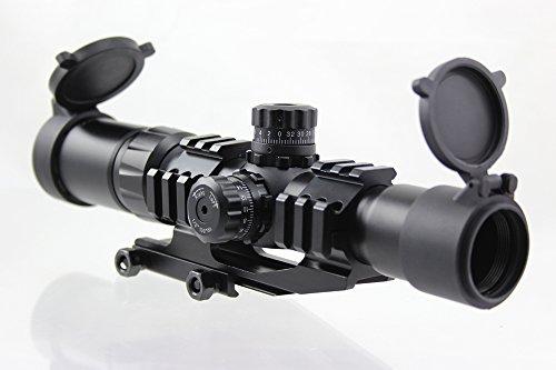 FOLEY Rifle Scope 1 FOLEY 1.5-4X30 Tri-Illuminated Mil Dot or Horseshoe or Chevron Reticle Riflescope with Locking Turrets