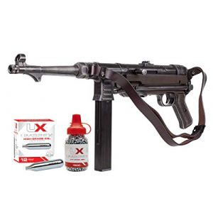 Umarex Air Rifle 1 Umarex Weathered MP40 Full Auto CO2 Submachine BB Gun Bundle with 1500 BBS and 12 CO2 Cartridges
