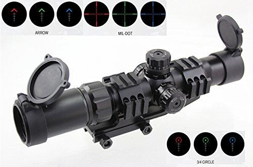 FOLEY Rifle Scope 5 FOLEY 1.5-4X30 Tri-Illuminated Mil Dot or Horseshoe or Chevron Reticle Riflescope with Locking Turrets