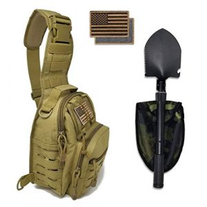 Gearrific Tactical Backpack 1 Tactical Sling Bag + Portable Camping Shovel + Flag Patch Combo - Military Day Pack, Small Backpack, Fishing, Hiking, Hunting