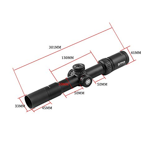 SPINA OPTICS Rifle Scope 6 1-6x28 SFP Tactical Rifle Scope Optics Sight Mil-dot Reticle Wide Angle Wide Vision Scope for Hunting
