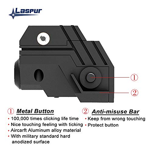 Laspur Rifle Laser Sight 6 Laspur USA Mini Sub Compact Tactical Rail Mount Low Profile Laser Sight with Build-in Rechargeable Battery for Pistol Rifle Handgun Gun