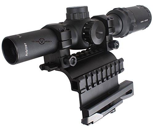 Vector Optics Rifle Scope 1 Vector Optics Arbiter 1-4x24mm 1/2 MOA Compact Tactical Riflescope and Side Picatinny Rail QD Mount Combo (Matte Black)
