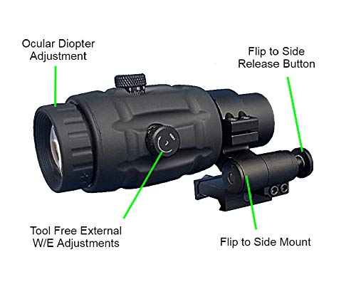 AIMPRO Rifle Scope 6 AIMPRO ALFA Red Dot Sight with Flip to Side Magnifier Combo
