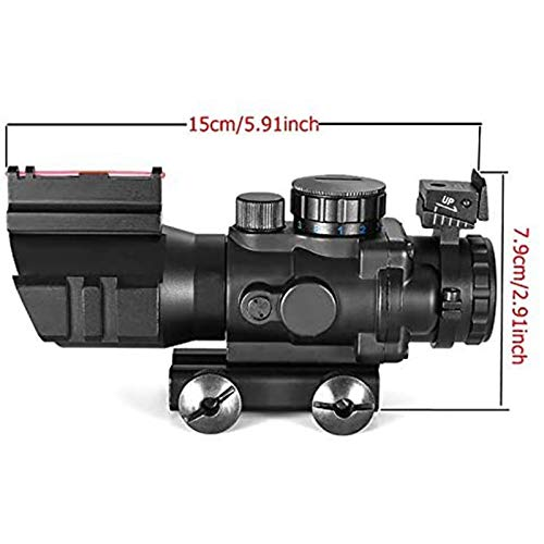 TTHU Rifle Scope 3 TTHU Rifle Scope 4X32 Tactical Rifle Scope Red & Green &Blue Illuminated Reticle Scope with Fiber Optic Sight for Hunting