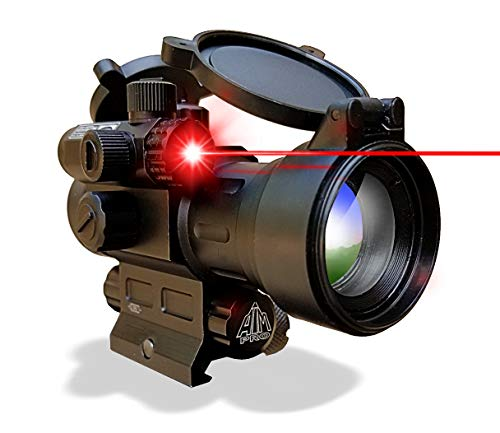 AIMPRO Rifle Scope 1 AIMPRO Tactical Red Dot Reflex Sight with Red Laser Combo