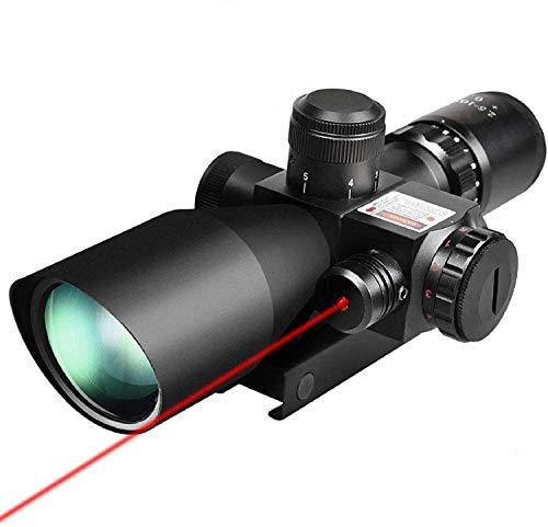 QILU Rifle Scope 1 QILU 2.5-10x40 Tactical Rifle scope Red & Green Dot Gun scopes With Red Laser & 20mm Mounts