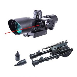 Pinty Rifle Scope 1 Pinty 2.5-10x40 Red Green Illuminated Mil-dot Tactical Rifle Scope with Red Laser Combo & Rifle Bipod with 7 inch to 9.5 inch Adjustable Legs & Spikes, Works w Picatinny Rails
