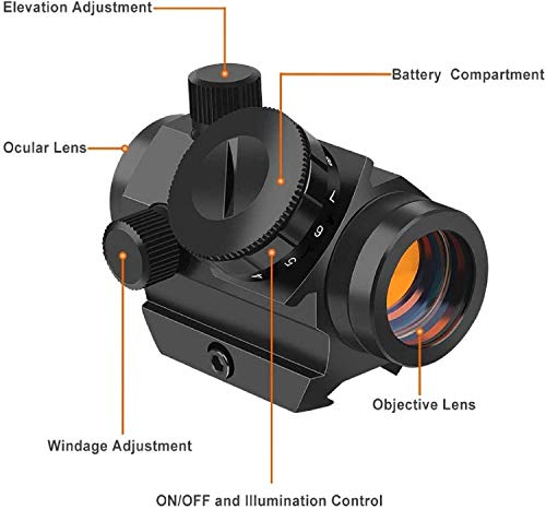 """QILU Rifle Scope 4 QILU 3-4MOA Micro Red Dot Sight, 3-4 MOA Compact Red Dot Scope 1"""" Riser Mount for Cowitness with Iron Sights Waterproof and Shockproof Scratch Resistant Amber Lens"""