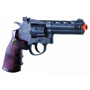 Game Face Airsoft Pistol 1 GameFace ACG357 CO2-Powered GF600 Semi-Auto 8-Shot 357 Airsoft Revolver, Grey/Brown