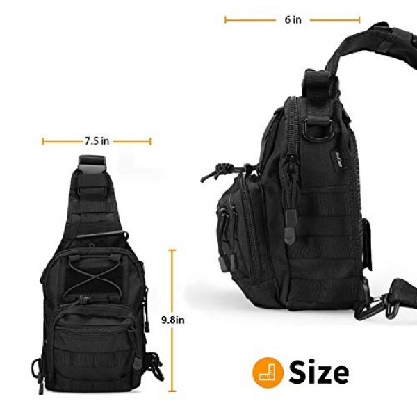"""ProCase Tactical Backpack 3 ProCase Tactical Sling Bag with Pistol Holster Bundle with Tactical Pistol Mag Pouch Molle Pistol Submachine Gun Magazine Bag """"Black"""