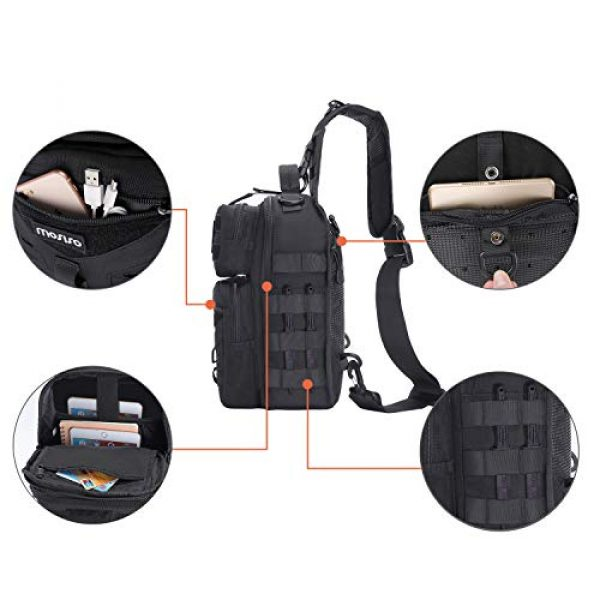 MOSISO Tactical Backpack 2 MOSISO Tactical Backpack, One Shoulder Slingbag Military Army Assault Molle Rucksack Everyday Carrying Daypack with USA Flag Patch for Outdoor Sports Hiking Hunting Fishing Camping Training, Black