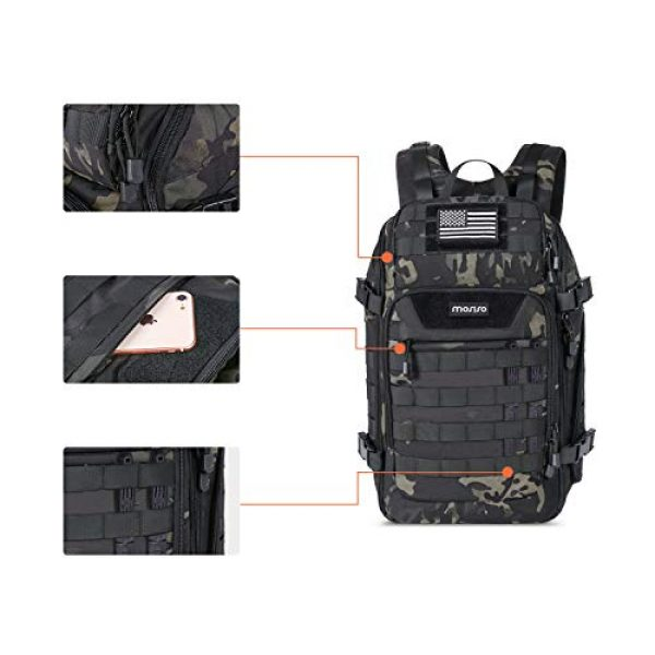 MOSISO Tactical Backpack 3 MOSISO 30L Tactical Backpack, Military Daypack 3 Day Assault Molle Rucksack Outdoor Hiking Hunting Fishing Camping Training Shoulder Bag with USA Flag Patch&USB Charging Port, Night Camouflage