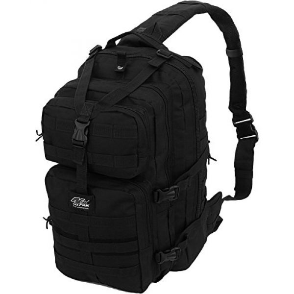 NPUSA Tactical Backpack 2 Mens Multicam Molle 2L Hydration Ready Sling Bag with Keychain Compass or Key Ring Carabiner+ 2 Zipper Pulls