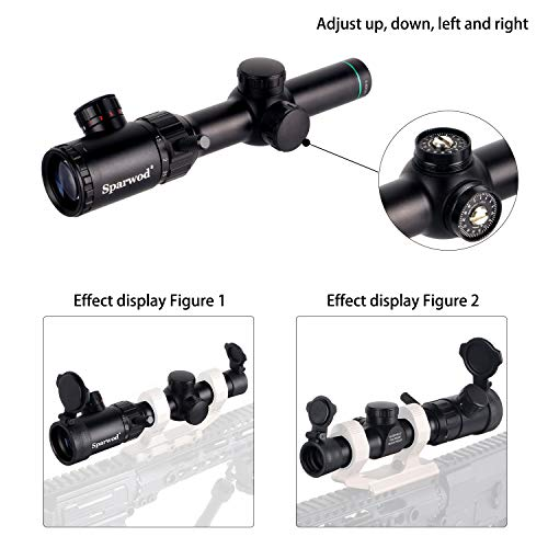Sparwod Rifle Scope 4 Sparwod 1-4X20mm Rifle Scope,Mid-Range Red/Green Crosshair Shockproof Riflescope with Flip Up Lens Covers and High Profile Scope Rings