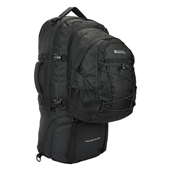 Mountain Warehouse Tactical Backpack 4 Mountain Warehouse Traveller 60 + 20L Travel Backpack - for Camping, Outdoor Rucksack with Detachable Daypack