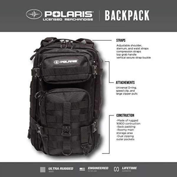 Polaris Tactical Backpack 2 Polaris 17-Inch Military Tactical Backpack, Army-Style Rucksack for Outdoor Hiking, Camping, Trekking and Hunting