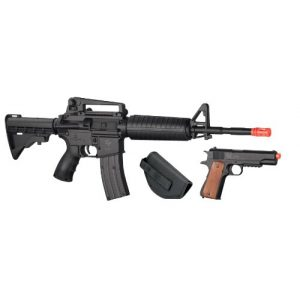 Game Face Airsoft Rifle and Pistol Combo 1 GameFace 52003 Defender Strike Airsoft Kit With Electric Full/Semi-Auto Airsoft Rifle And Spring-Powered Single-Shot 1911 Airsoft Pistol, Holster And Ammo