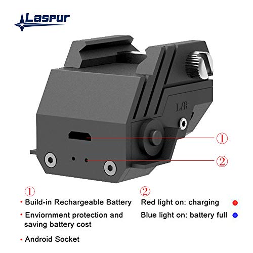 Laspur Rifle Laser Sight 5 Laspur USA Mini Sub Compact Tactical Rail Mount Low Profile Laser Sight with Build-in Rechargeable Battery for Pistol Rifle Handgun Gun