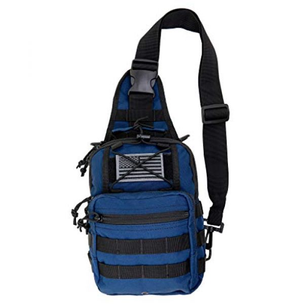 LINE2design Tactical Backpack 1 LINE2design First Aid Sling Backpack - EMS Equipment Emergency Medical Supplies Tactical Range Shoulder Molle Bag - Heavy Duty Sports Outdoor Rescue Pack - Perfect for Camping Hiking Trekking - Navy