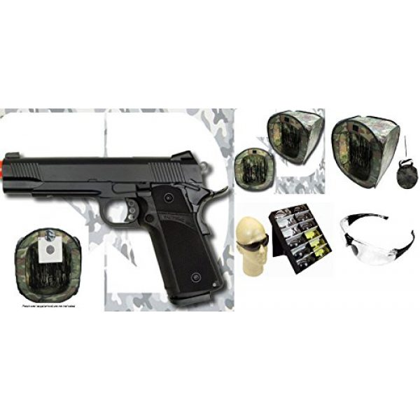 KJW Airsoft Pistol 1 gbb-614 - KJW full metal semi auto gas blowback pistol with free target trip tent and safety shooting glasses(Airsoft Gun)
