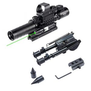 Pinty Rifle Scope 1 Pinty Rifle Scope 3-9x32 Rangefinder Illuminated Reflex Sight 4 Reticle Green Dot Laser Sight & 7 inch to 9.5 inch Rifle Bipod with Spikes, Works w Picatinny Rails