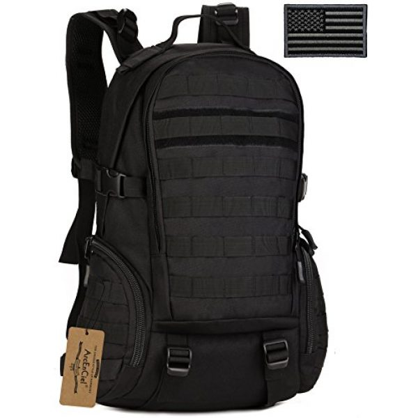 ArcEnCiel Tactical Backpack 1 ArcEnCiel Tactical Backpack Military Army Day Assault Pack Molle Bag with Patch - Rain Cover Included