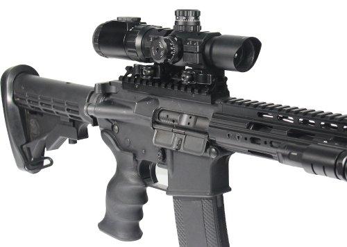 Accu-Shot Rifle Scope 2 UTG 1-4.5X28 30mm CQB Scope, 36-color Glass Circle Dot,Rings
