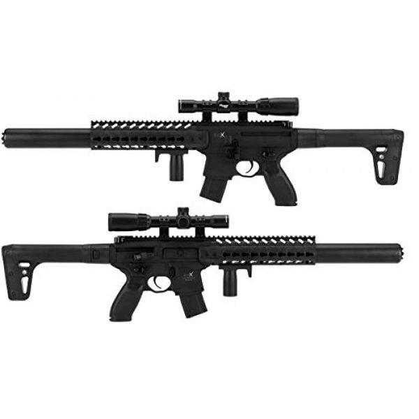 Sig Sauer Air Rifle 3 Sig Sauer MCX .177 Cal CO2 Powered 1-4x24mm Scope Air Rifle (30 Rounds), Black, one size