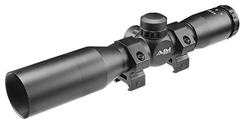 Aim Sports Rifle Scope 1 AIM SPORTS Inc 4X32 Compact Rangfinder Scope w/Rings & Sunshade, Black, JTR432B-S